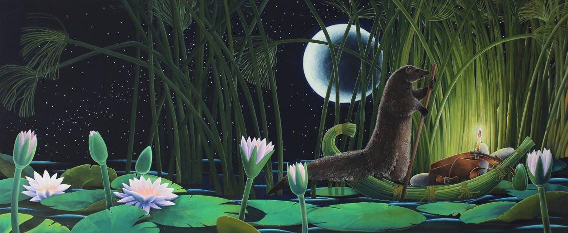 Egyptian Mongoose by Moonlight